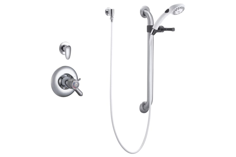 Universal Dual Shower Trim, Diverter, Hand Shower, and Grab Bar ...