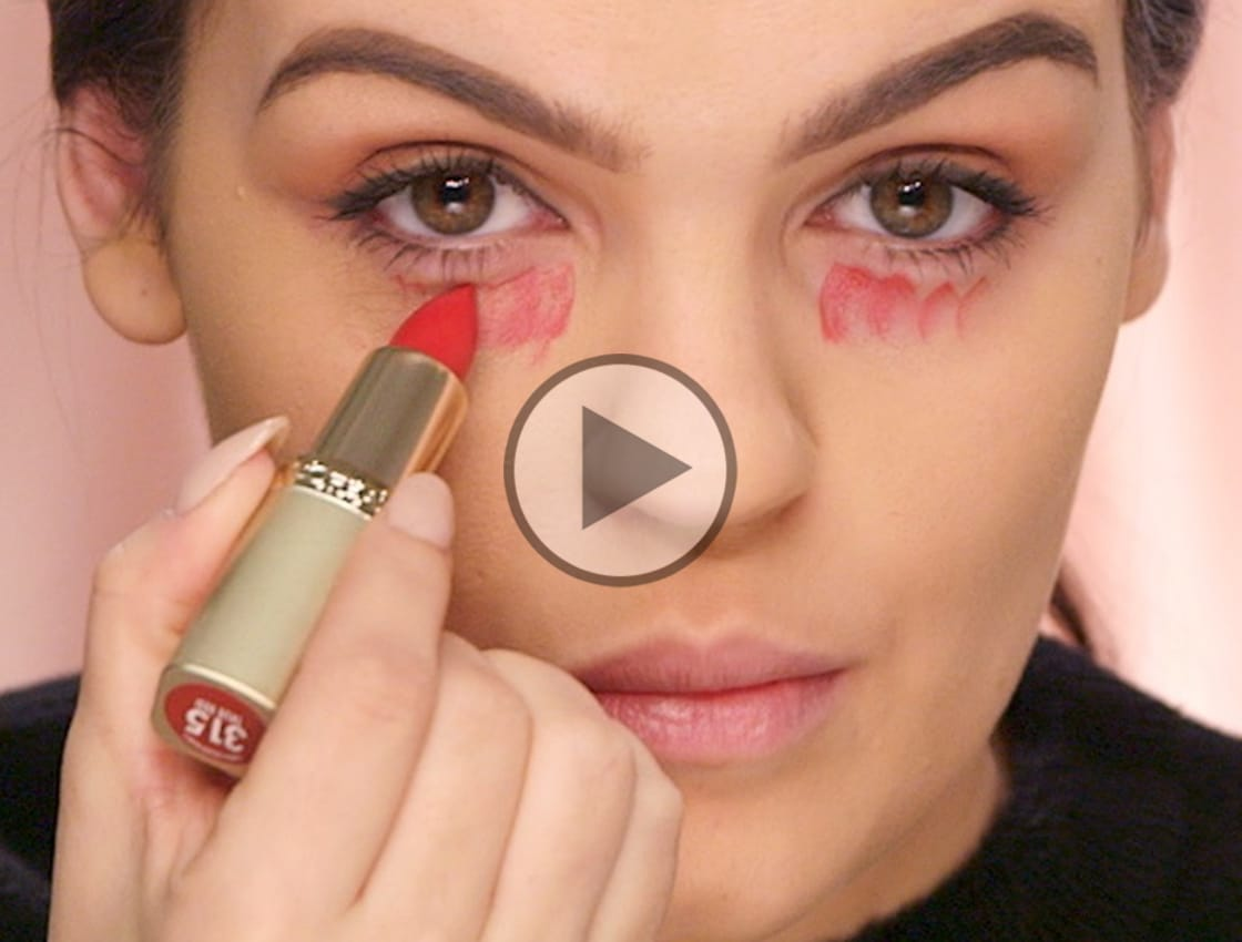 How to Conceal Dark Undereye Circles With Red Lipstick | Makeup com