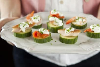 seafood cucumber stacks with lemon cream and chives